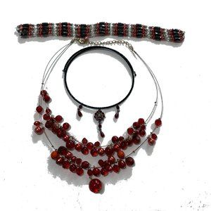 Jewelry - Red theme wearable craft harvest lot